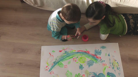 children painting 22 Stock Video Footage
