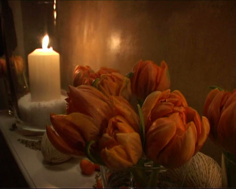 Candles with flowers Stock Video Footage