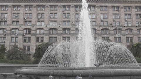 fountain and building Stock Video Footage