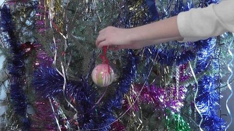 girl with christmas ball Stock Video Footage