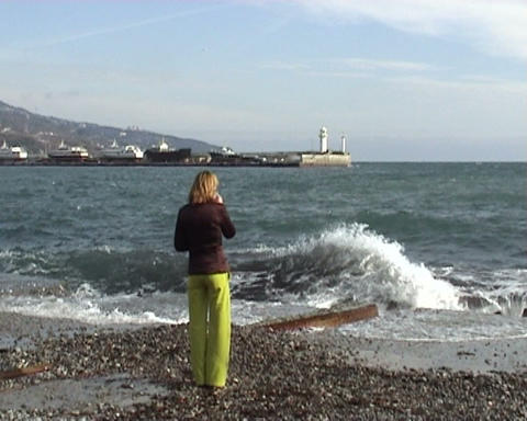 girl and winter sea Stock Video Footage