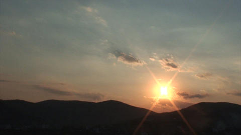 sunset with mountain Stock Video Footage