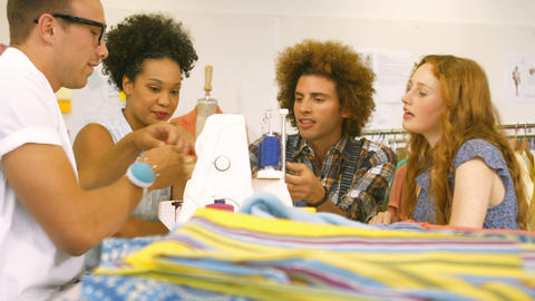 Fashion Students Having A Meeting Together stock footage
