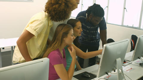 Students Using Computer In Classrooms stock footage