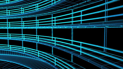 4 K Ultra Modern Data Center Wireframe Design 3 D  Animation