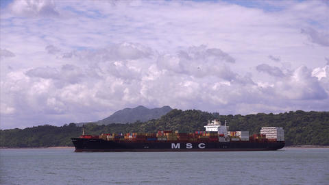 Panama City and the Canal. Cargo container vessel  Footage