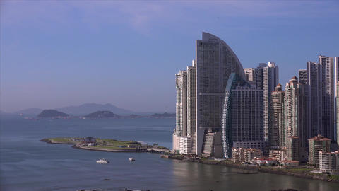 Panama City, View Of Punta Pacifica District And T stock footage