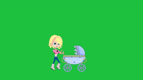 Girl Walking with Baby Stroller (Greenscreen) Animation