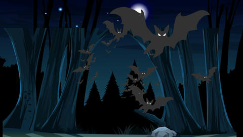 Bats Emerging from Forest (1080): Looping Animation