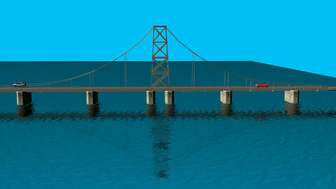 Animated Bridge with Water: Loop + Matte Animation