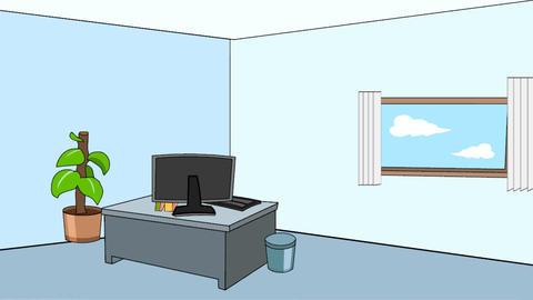 Cartoon Office Scene (Static): Looping Animation