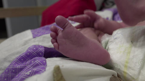 Newborn Baby Feet Footage
