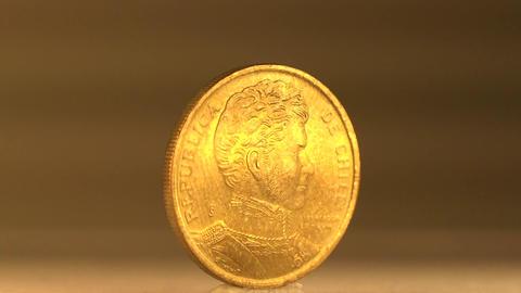 A Chilean 10 Peso Value Footage