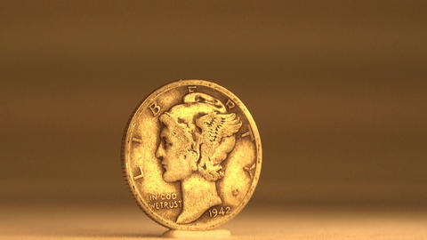 Silver Dime! 10 Cent Coin Of USA stock footage