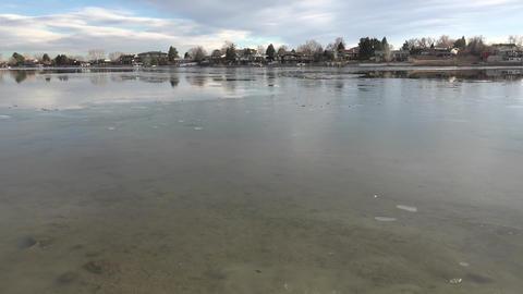 Very Thin Ice On Lake stock footage