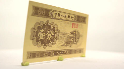 Feel The Paper Currency Of China's One Fen stock footage