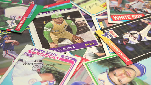 Old Baseball Cards Collection stock footage