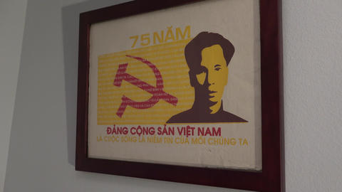 Vietnamese Communism Poster stock footage