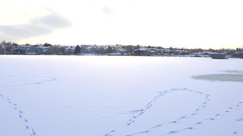Frozen Lake View stock footage