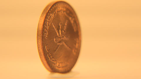 1 Rial Coin Sultanate Of Oman stock footage