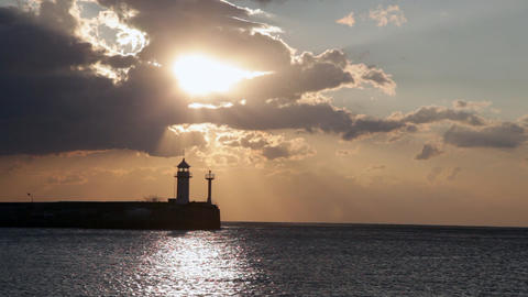 Beacon In Yalta At Sunrise, A View From The Centra stock footage