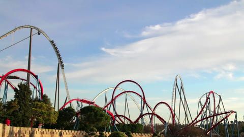 Huge Roller Coasters at an Amusement Park 01 Footage
