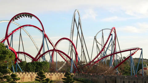 Huge Roller Coasters at an Amusement Park 04 Footage