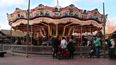 Rotating Carousel At The Fair 01 stock footage
