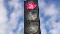 Traffic Light Changing To Red stock footage