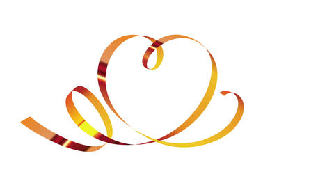 Gold ribbon in shape of heart animation Animation