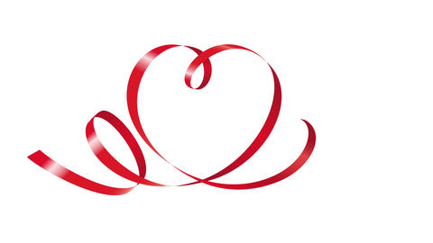 Red ribbon in shape of heart animation Animation