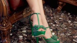 Psychotherapist green shoes feet nervous Footage