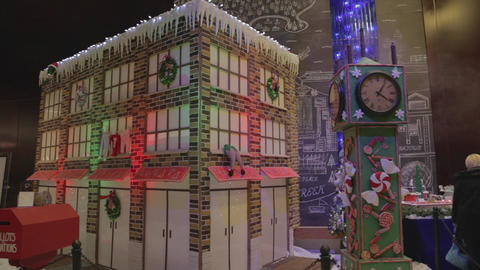 Large gingerbread house and christmas display Footage