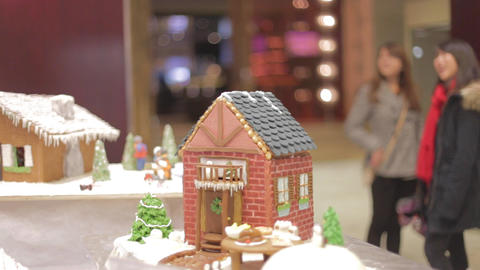 minature gingerbread house - cinematic depth of fi Live影片
