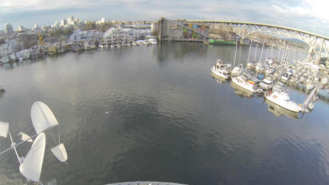 rising aerial of granville bridge and granville is Footage