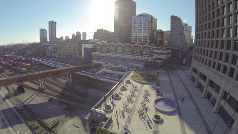 aerial - pan from Canada place to waterfront stati Footage