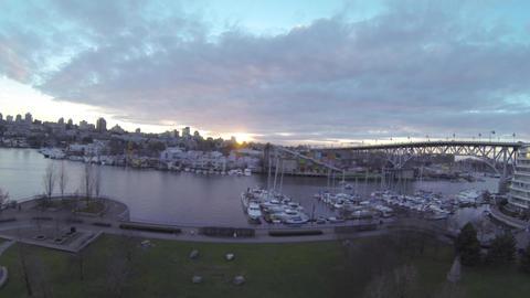 magic hour sunset - aerial marine granville bridge Footage