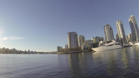 view of yaletown marina from water - great sunligh Footage