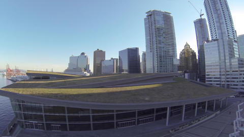 Aerial - Grass Ceiling Of Vancouver Convention Cen stock footage