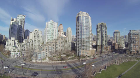 Aerial - David lam park yaletown buildings Footage