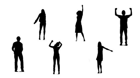 Silhouettes of young people who dance 1 Animation