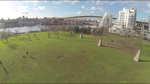 great sunlight - wide aerial granville island Footage