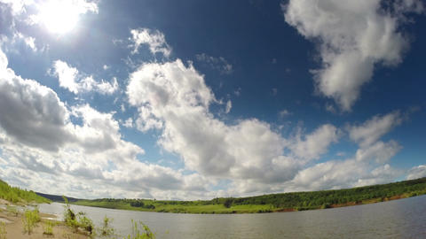 Timelapse With Clouds Moving Over River stock footage