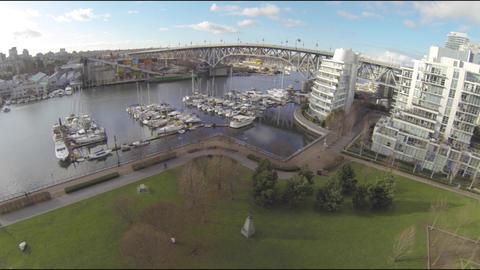 wide aerial granville island - seawall Footage