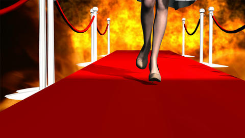 Model on Cat Walk with Fiery Background Animation