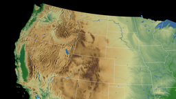Idaho state (USA) extruded on the physical map of  Animation