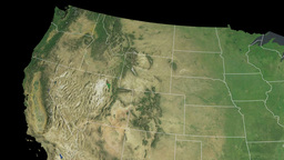 Idaho state (USA) extruded on the satellite map of Animation