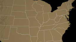 Indiana State (USA) Extruded On The Elevation Map  stock footage