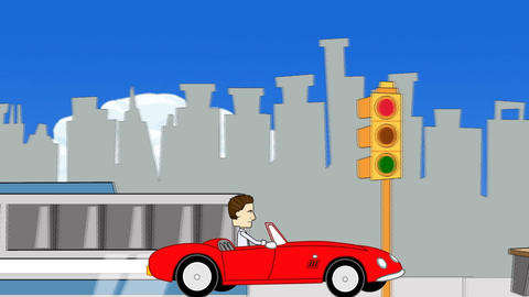 Driving a Sports Car on a City Street Animation