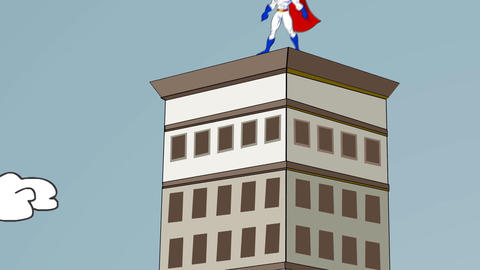 Super Hero Conquers Skyscraper: Animation stock footage